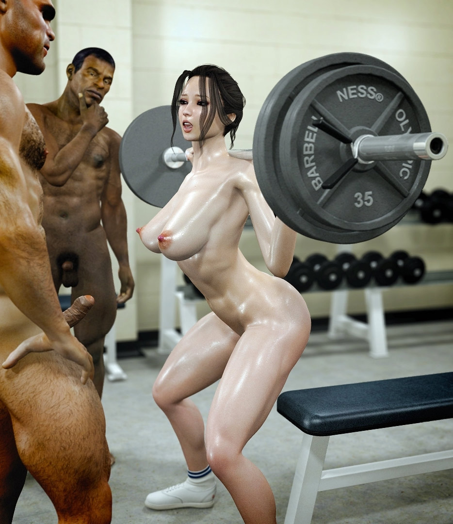 Gangbang interracial fitness - Naked gym by Jared999d