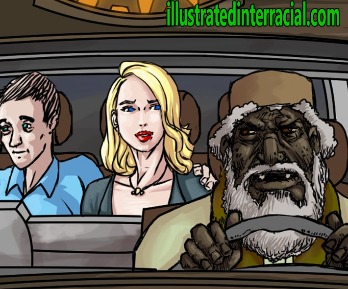 Look at my wife in the back - Pakistani taxi man takes my drunk wife by Illustrated interracial
