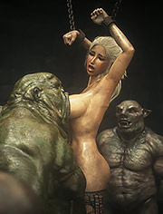 Elf slave 7 Double trouble: Nasty dungeons with monsters cocks